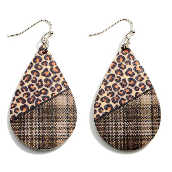 """Plaid and Cheetah Teardrop Earrings.   - Approximately 3"""" Long"""