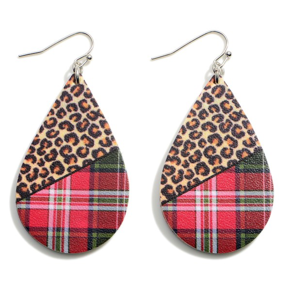 """Leopard Print Teardrop Earrings Featuring Plaid Accents.  - Approximately 2.25"""" in Length"""