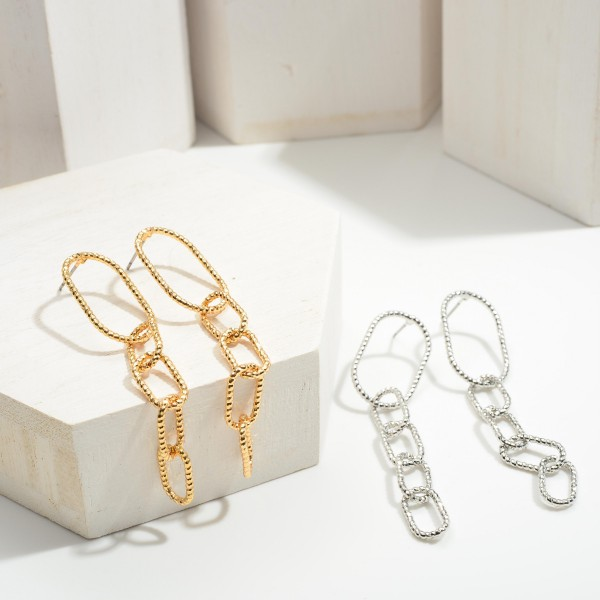 """Chain Link Drop Earrings.   - Approximately 2.5"""" in Length"""