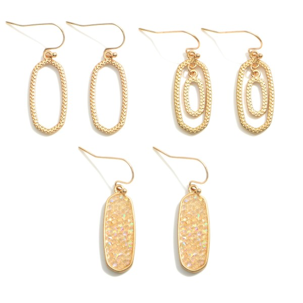 """Set of Three Drop Earrings Featuring Druzy Accents.  - Approximately 1.25"""" in Length"""