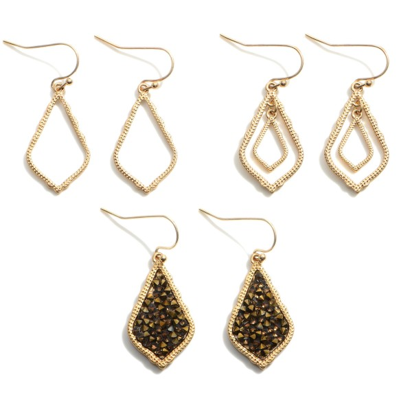 """Set of Three Teardrop Earrings Featuring Druzy Accents.   - Approximately 1.25"""" in Length"""