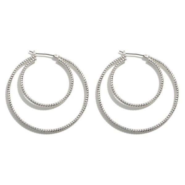 "Double Hoop Earrings.   - Approximately 2"" in Length"