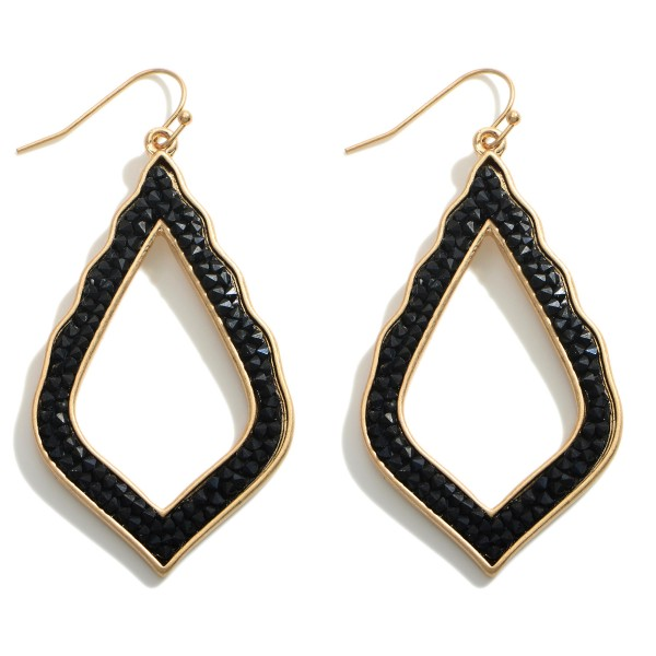 """Metal Teardrop Earrings Featuring Druzy Accents.   - Approximately 2.25"""" in Length"""