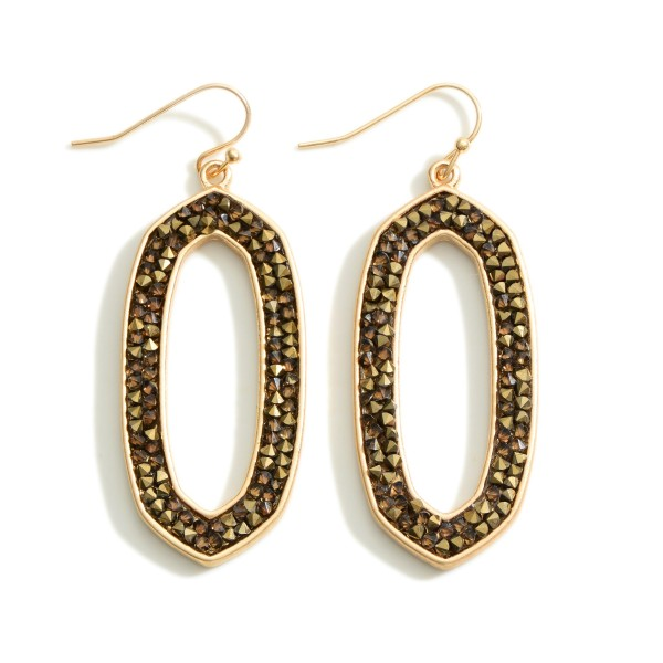 """Metal Drop Earrings Featuring Druzy Accents.   - Approximately 2"""" in Length"""