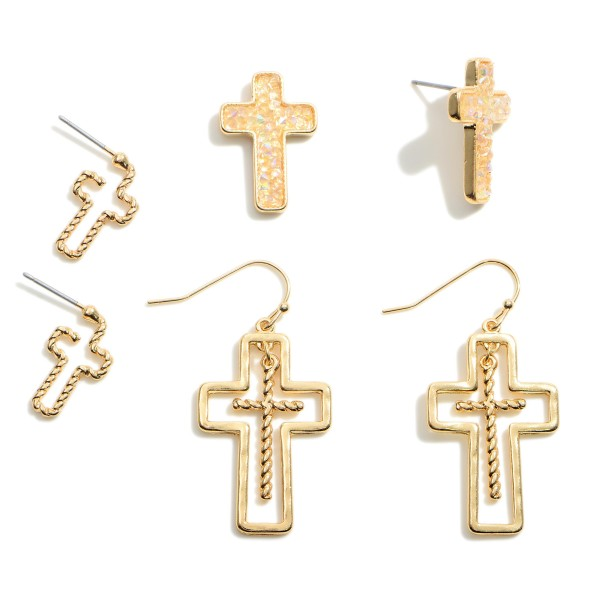 """Set of Three Cross Earrings Featuring Druzy Accents.   - Small Studs Approximately .5"""" in Length - Medium Druzy Studs Approximately .75"""" in Length - Cross Drop Earrings Approximately 1.5"""" in Length"""