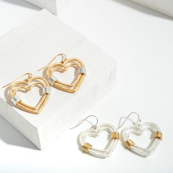 "Two Tone Heart Drop Earrings.  - Approximately 1.5"" in Length"
