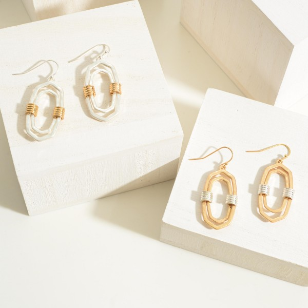 """Gold Tone Double Oblong Drop Earrings Featuring Cuff Accents  - Approximately 1.5"""" Long"""