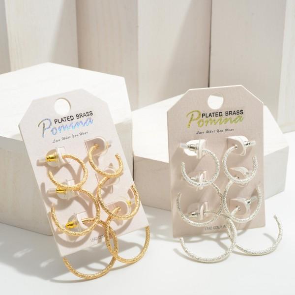 """Set of Three Hoop Metal Earrings.   - Small Hoops Approximately .75"""" in Diameter - Medium Hoops Approximately 1"""" in Diameter - Large Hoops Approximately 1.25"""" in Diameter"""