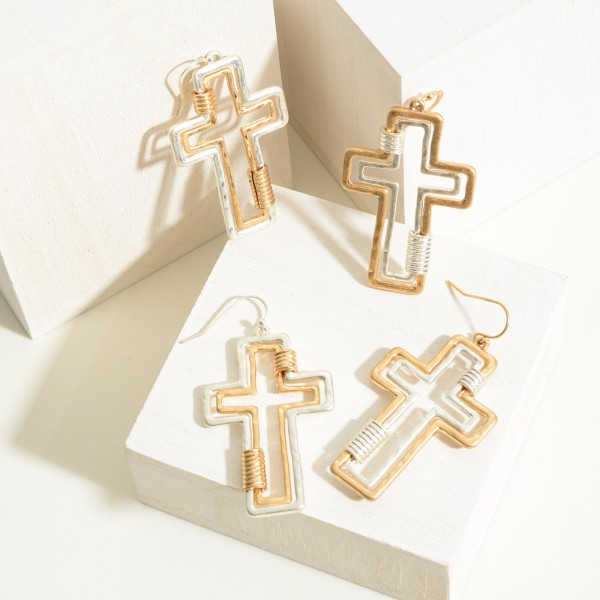 """Gold and Silver Tone Cross Drop Earrings Featuring Cuff Accents  - Approximately 2"""" Long"""