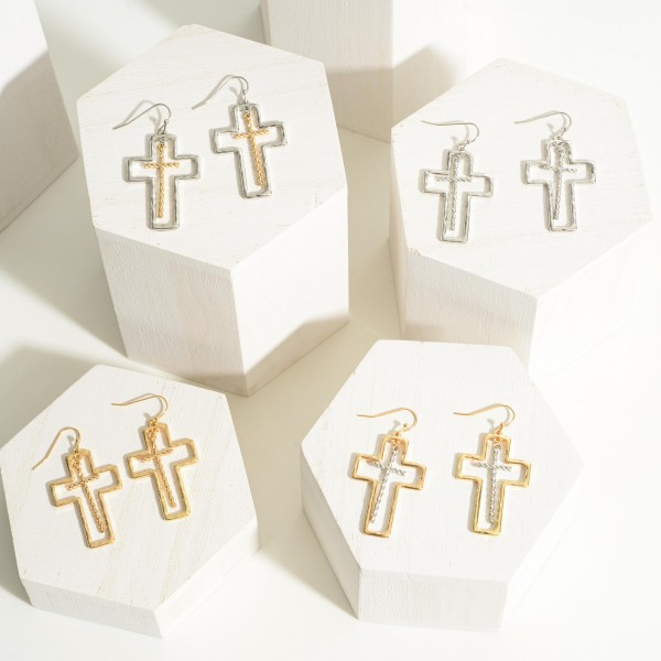 """Hollow Cross Earring With Textured Center Cross Charm  - Approximately 1.75"""" Length"""