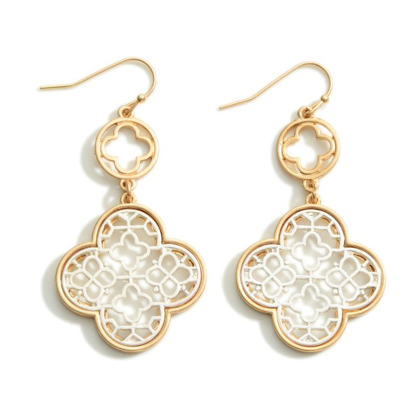 """Gold and Silver Tone Clover Drop Earrings  - Approximately 2.25"""" Long"""