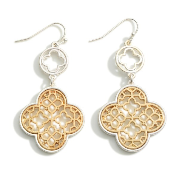"""Silver and Gold Tone Clover Drop Earrings  - Approximately 2.25"""" Long"""