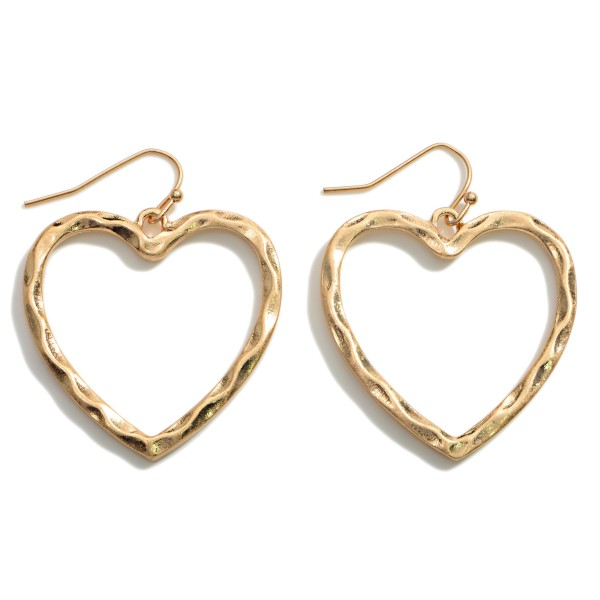 """Metal Heart Drop Earrings Featuring Hammered Accents.   - Approximately 1.75"""" in Length"""