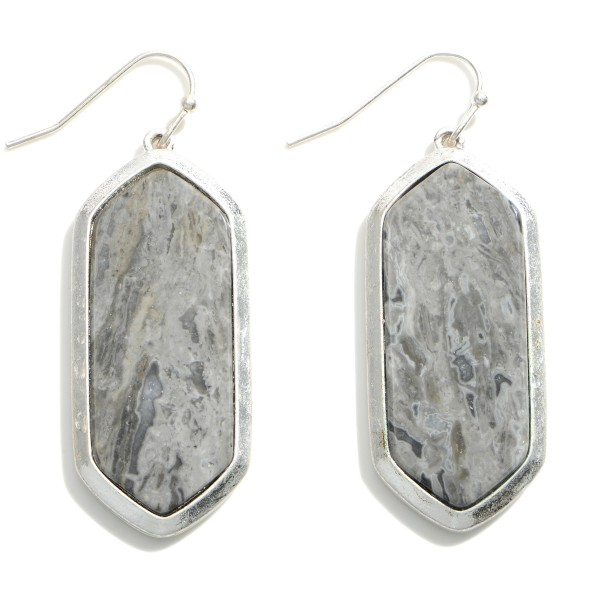 """Metal Drop Earrings Featuring Natural Stone Accents.   - Approximately 2"""" in Length"""