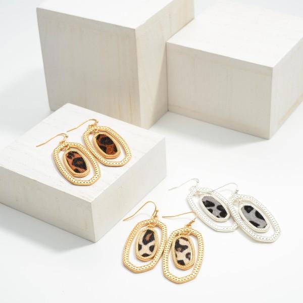 "Gold Tone Leopard Print Drop Earrings  -Approximately 1.75"" Long"