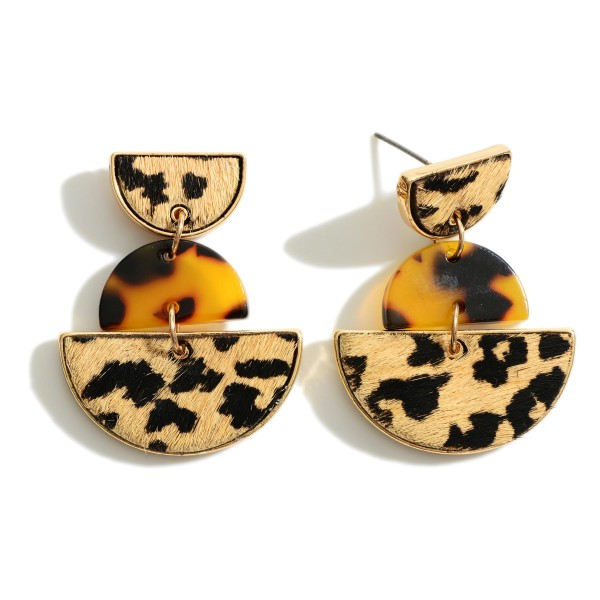 """Genuine Leather Animal Print and Tortoise Drop Earrings  - Approximately 1.5"""" Length"""