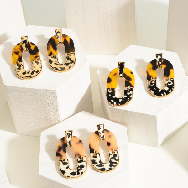 """Genuine Leather Animal Print and Tortoise Oval Drop Earrings  - Approximately 2"""" Length"""