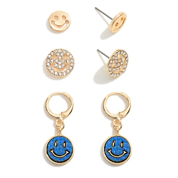 """Set of Three Gold Tone Smiley Face Earrings  - Approximately 0.35"""" W - 0.5"""" W"""