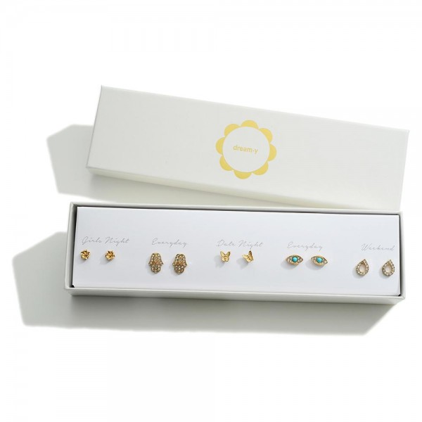 Set of Five Gold Stud Earrings Featuring CZ and Turquoise Accents  - Approximately 4mm - 6mm