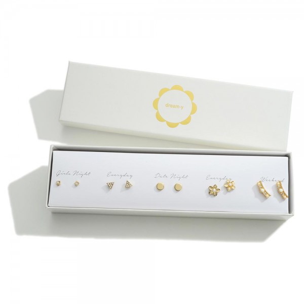 Set of Five Gold Stud Earrings Featuring CZ and Pearl Accents  - Approximately 4mm - 10mm