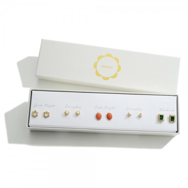Set of Five Gold Stud Earrings Featuring CZ and Pearl Accents  - Approximately 4mm - 7mm