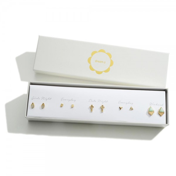 Set of Five Gold Stud Earrings Featuring CZ Accents  - Approximately 4mm - 10mm