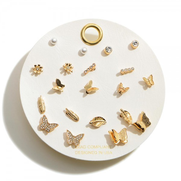 Bohemian Stud Earring Set in Gold With Pearl and Rhinestone Accents.