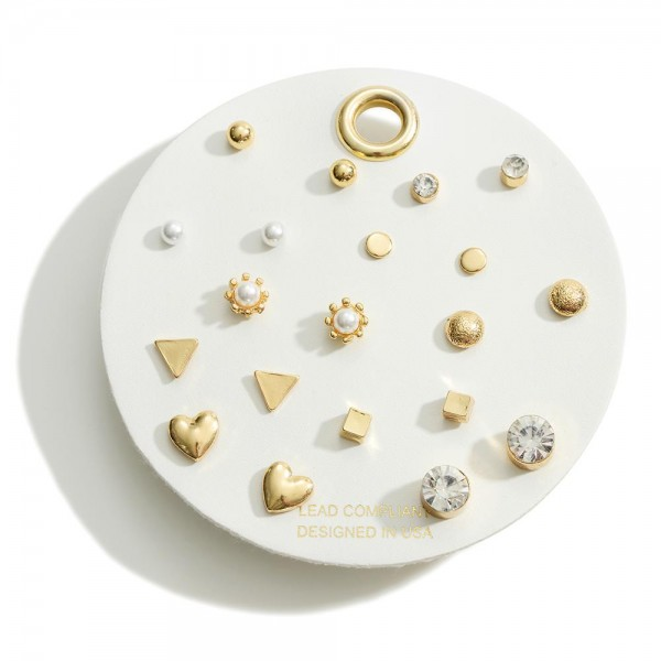 Set of Ten Geometric Shaped Gold Tone Earrings with CZ and Pearl Accents  - Approximately 1mm - 10mm