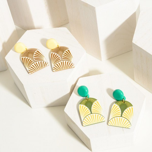 """Colorful Abstract Post Drop Earring  - Approximately 2"""" Length"""