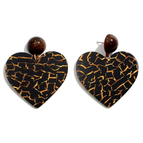 """Heart Shaped Resin Drop Earrings Featuring Gold Accents.   - Approximately 2.75"""" in Length"""