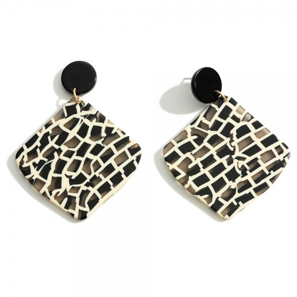 """Black and White Statement Resin Earrings  - Approximately 2"""" in length"""