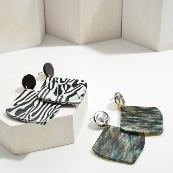 "Zebra Print Resin Drop Earrings.   - Approximately 2.5"" in Length"