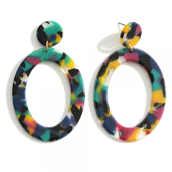 """Oval Resin Statement Earring  Approximately 2.5"""" Length"""