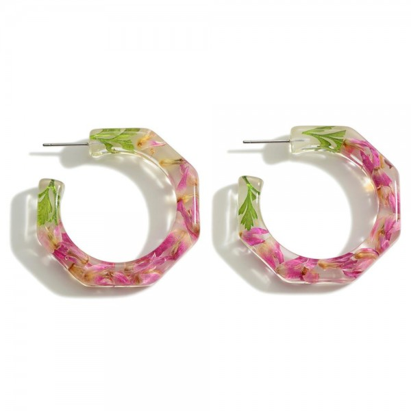 """Clear Resin Hoop Earring Featuring Flower Accents  - Approximately 1.5"""" Diameter"""