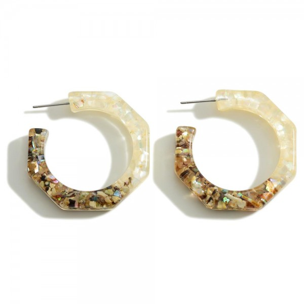 """Clear Resin Hoop Earring Featuring Glitter Accents  - Approximately 1.5"""" Diameter"""