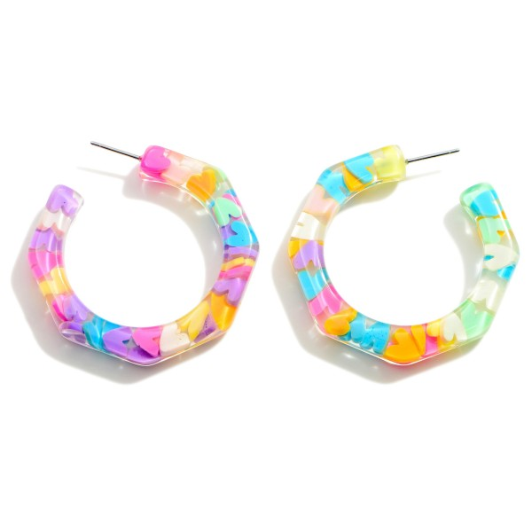 """Clear Resin Earrings Filled with Multicolor Hearts.   - Approximately 1.5"""" in Diameter"""
