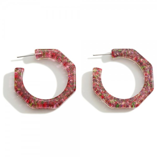 """Clear Resin Hoop Earring Featuring   - Approximately 1.5"""" Diameter"""