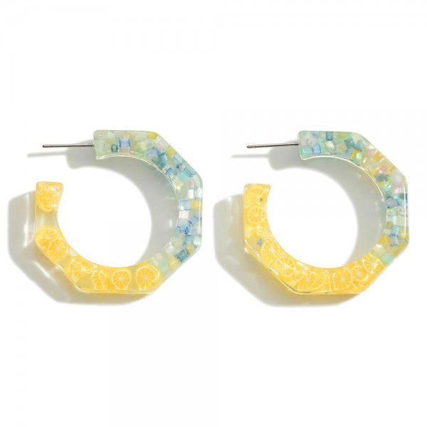 """Clear Resin Hoop Earring Featuring Lemon Accents  - Approximately 1.5"""" Diameter"""
