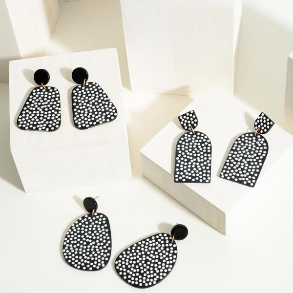 "Geometric Black and White Dot Earrings  - Approximately 2"" Length"