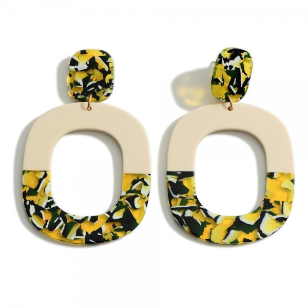 """Multi-Colored Resin Statement Earrings   - Approximately 3"""" Length"""