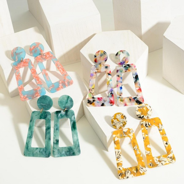 """Geometric Resin Statement Earrings  - Approximately 3.25"""" Length"""