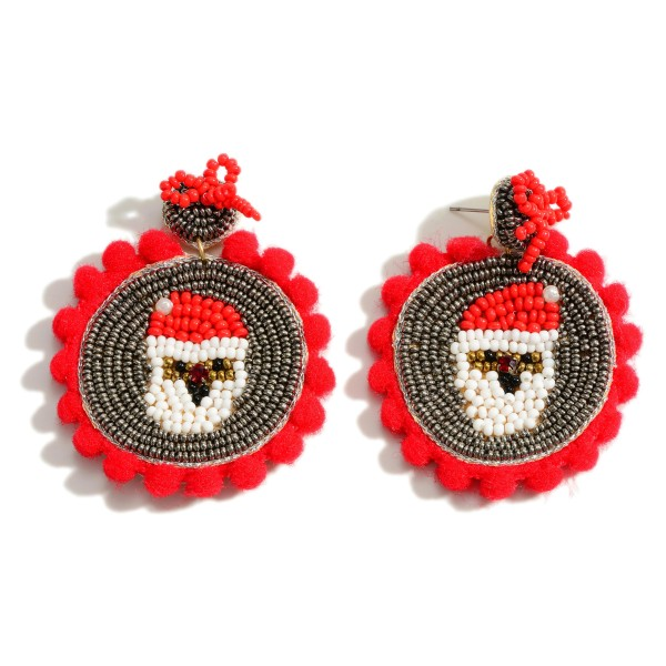 """Seed Bead Santa Drop Earrings Featuring Cotton Ball Accents  - Approximately 2.25"""" Long"""