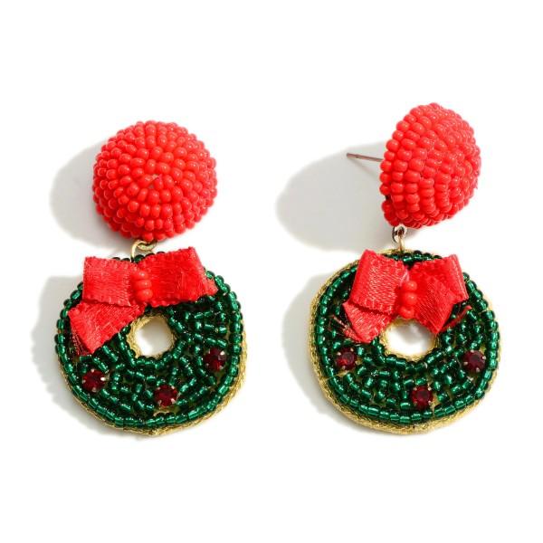 "Seed Bead Wreath Drop Earrings  - Approximately 2"" Long"