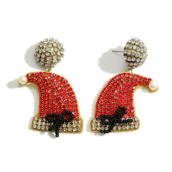 "Rhinestone Santa Hat Drop Earrings  - Approximately 2.25"" Long"