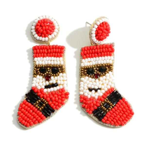 "Seed Bead Santa Stocking Earrings  - Approximately 2.5"" Long"