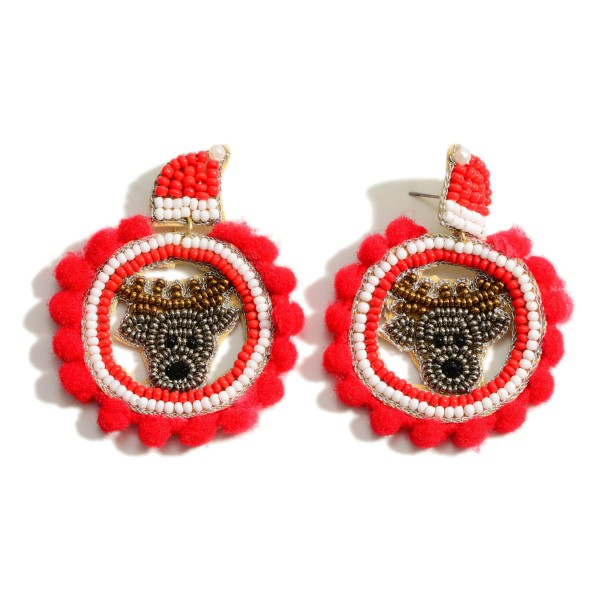 """Seed Bead Reindeer Drop Earrings Featuring Cotton Ball Accents  - Approximately 2.25"""" Long"""