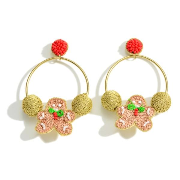 """Knit Gingerbread Man Hoop Drop Earrings  - Approximately 2.75"""" Long"""