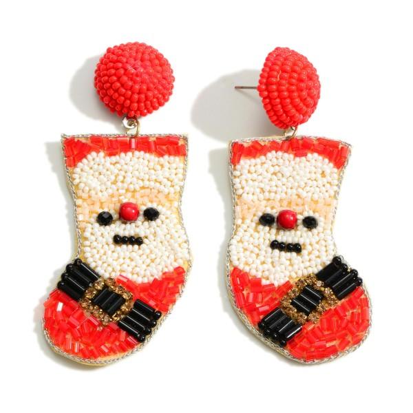 "Seed Bead Large Santa Stocking Earrings  - Approximately 2.75"" Long"