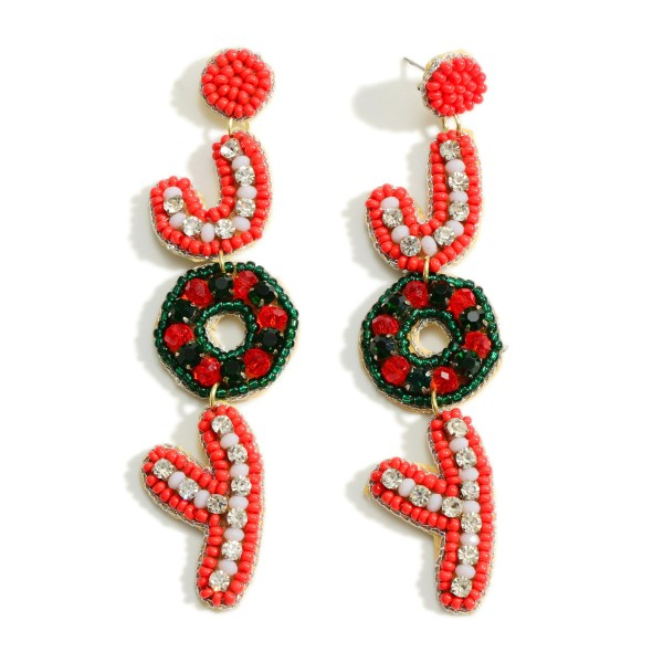 """Seed Bead JOY Drop Earrings Featuring Rhinestone Accents  - Approximately 3.5"""" Long"""
