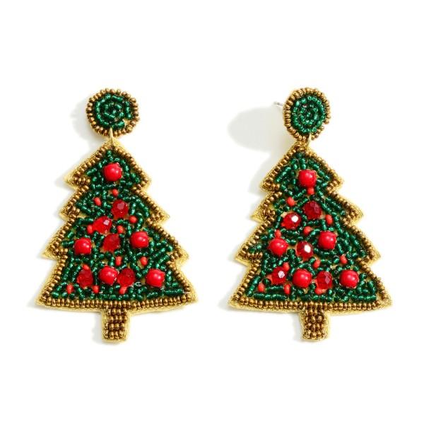 "Seed Bead Christmas Tree Drop Earrings  - Approximately 2.5"" Long"